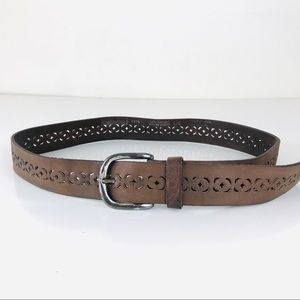 Aeropostale Western Brown Perforated Leather Belt